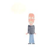 Karikaturvati, der Schultern mit Gedankenblase zuckt Stockbild