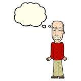 Karikaturvati, der Schultern mit Gedankenblase zuckt Lizenzfreie Stockbilder