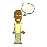 Karikaturvati, der Schultern mit Spracheblase zuckt Stockfotografie