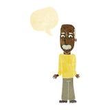 Karikaturvati, der Schultern mit Spracheblase zuckt Stockbild