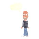 Karikaturvati, der Schultern mit Spracheblase zuckt Lizenzfreies Stockfoto