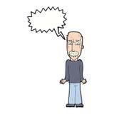 Karikaturvati, der Schultern mit Spracheblase zuckt Lizenzfreie Stockfotografie