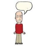 Karikaturvati, der Schultern mit Spracheblase zuckt Lizenzfreie Stockfotos