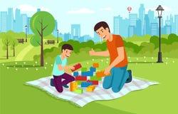 Karikaturvati mit Sohn im Park sammeln Erbauer lizenzfreie abbildung