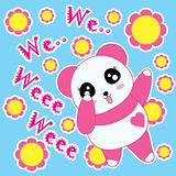Karikaturvektor des Pandas und der Blumen Lizenzfreies Stockfoto