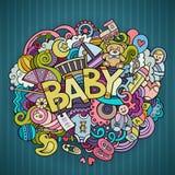 Karikaturvektor Hand gezeichnete Gekritzel-Babyillustration Lizenzfreie Stockfotos