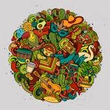 Karikaturvektor Hand gezeichnete lateinamerikanische Illustration Gekritzels Stockfotos