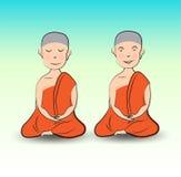 Karikaturvektorillustration des buddhistischen Mönchs, von Hand gezeichnete Buddhismus-Religion lizenzfreie abbildung