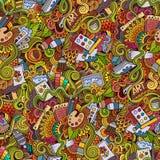 Karikaturvektorkunst und nahtloses Muster des Handwerks Stockbilder
