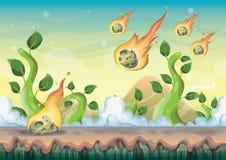 Karikaturvektorlandschaft mit Meteorhintergrund mit getrennten Schichten für Spielkunst- und -animationsspieldesignanlagegut stock abbildung