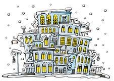 Karikaturvektorstadt beschichtet durch Schnee Stockbild