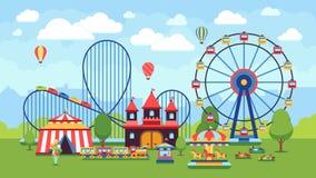 KarikaturVergnügungspark mit Zirkus, Karussells und Achterbahn vector Illustration Lizenzfreies Stockfoto