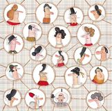 Karikaturversion des Sozialen Netzes Stockbilder