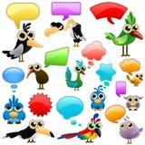 Karikaturvogel mit Luftblasen Stockbild