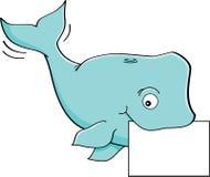 Karikaturwal mit einem Zeichen Stockfoto