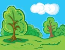 Karikaturwaldlandschaft Stockbilder