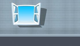 Karikaturwand mit einem offenen Fenster zu einem bllue Himmel Lizenzfreie Stockbilder