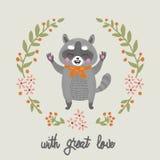 Karikaturwaschbär mit großer Liebe Vektor Stockbilder