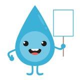 Karikaturwasser-Tropfencharakter mit leerem Zeichen in der Hand Lizenzfreie Stockfotografie