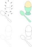 Karikaturweich gekocht ei und -löffel Punkt, zum des Spiels für Kinder zu punktieren stock abbildung