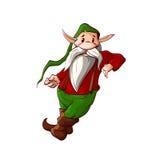 Karikaturweihnachtselfe oder ein zwergartiges Lehnen Stockfoto