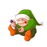 Karikaturweihnachtselfe oder -zwerg Stockfoto