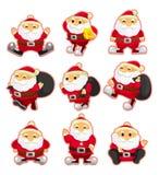 Karikaturweihnachtsmann-Weihnachtsikonenset lizenzfreie abbildung