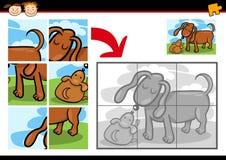 Karikaturwelpen-Laubsägenrätselspiel Stockfotografie