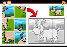 Karikaturwelpen-Laubsägenrätselspiel Lizenzfreie Stockbilder