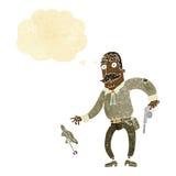 Karikaturwilder Westcowboy mit Gedankenblase Lizenzfreie Stockfotos