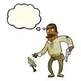 Karikaturwilder Westcowboy mit Gedankenblase Lizenzfreie Stockbilder