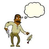 Karikaturwilder Westcowboy mit Gedankenblase Stockfotos