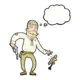 Karikaturwilder Westcowboy mit Gedankenblase Stockfotografie