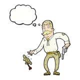 Karikaturwilder Westcowboy mit Gedankenblase Lizenzfreie Stockfotografie