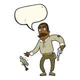 Karikaturwilder Westcowboy mit Spracheblase Stockfotos