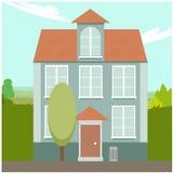 Karikaturwohnhaus mit schönem Naturhintergrund stock abbildung