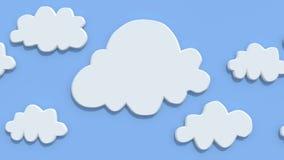 Karikaturwolken auf blauem Hintergrund Stockfotografie
