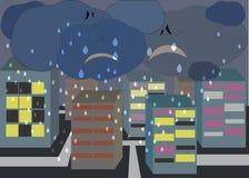 Karikaturwolken, die über der Stadt schreien Lizenzfreie Stockfotografie