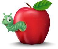 Karikaturwurm, der aus einen Apfel herauskommt Lizenzfreies Stockfoto
