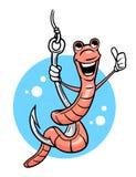 Karikaturwurm, der Daumen oben auf Haken gibt Stockbild