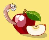 Karikaturwurm im Apfel Stockfotografie