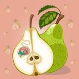 Karikaturwurm im Apfel Lizenzfreies Stockfoto