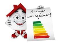 Karikaturzahl, die Energieeffizienzdiagramm zeigt Lizenzfreie Stockbilder