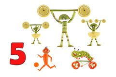 Karikaturzahlen des Gemüses und der Früchte, Illustration von Educa Stockfoto
