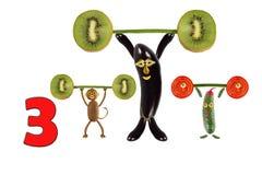 Karikaturzahlen des Gemüses und der Früchte, Illustration von Educa Stockbild