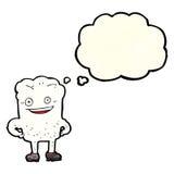 Karikaturzahn, der mit Gedankenblase eingebildet schaut lizenzfreie abbildung