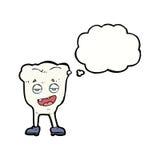 Karikaturzahn, der mit Gedankenblase eingebildet schaut stock abbildung