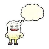 Karikaturzahn, der mit Gedankenblase eingebildet schaut vektor abbildung