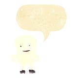 Karikaturzahn, der mit Spracheblase eingebildet schaut stock abbildung