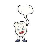 Karikaturzahn, der mit Spracheblase eingebildet schaut lizenzfreie abbildung